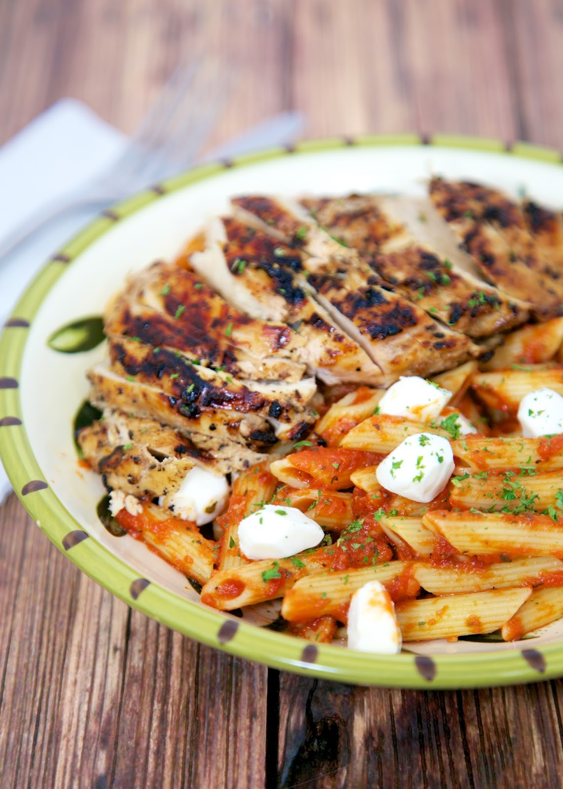 Grilled Chicken Caprese Pasta - balsamic marinated chicken over pasta and fresh mozzarella - all the flavors of your favorite salad in a pasta dish!