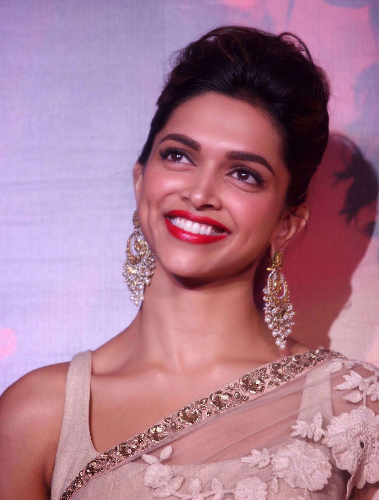 Bollywood Actress Deepika Padukone Big White Teeth Smiling Face Closeup