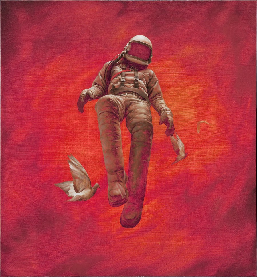 13-The-Red-Cosmonaut-Jeremy-Geddes-Body-Weightlessness-in-Surreal-Paintings-www-designstack-co