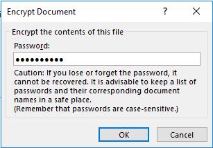jendela kotak dialog encrypt document untuk masukkan password (kata sandi)