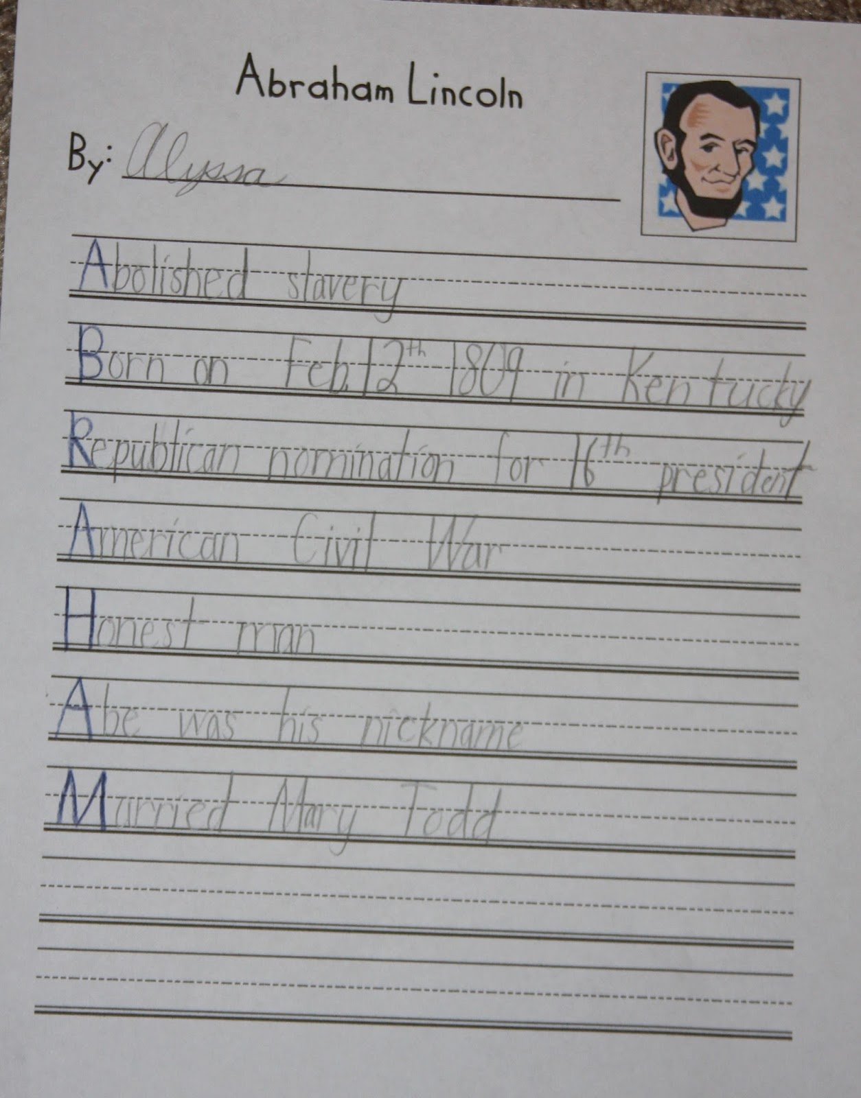 Abraham Lincoln Bio A Learning Journey P Is For President39s Day Poetry Abraham