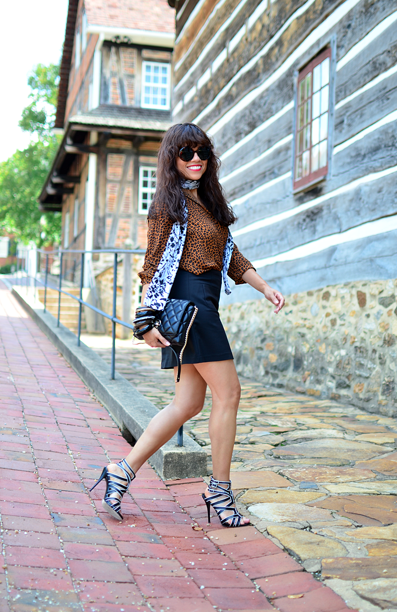 Outfit with A-line mini skirt