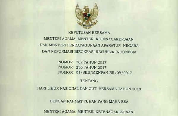 Hari Libur Nasional Tahun 2018 SKB 3 Menteri
