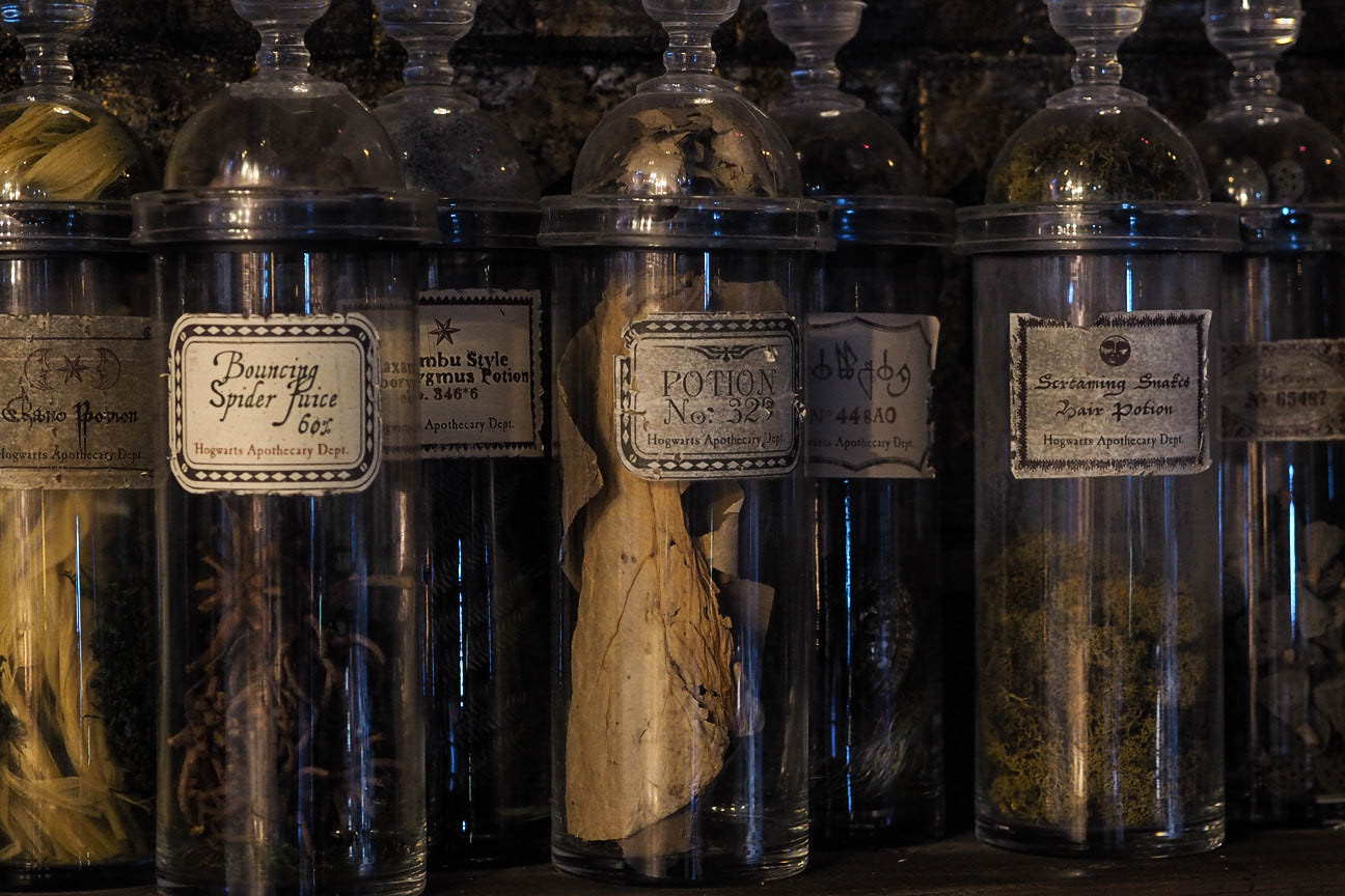 Glass jars in Potions classroom at Hogwarts in the Snow at Warner Brothers Studio Tour, London
