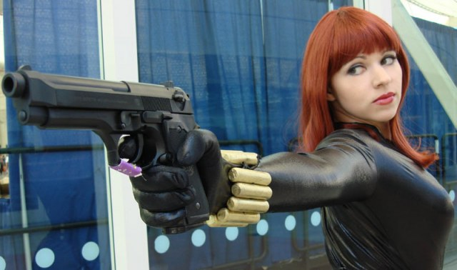 black widow sexy gun pose