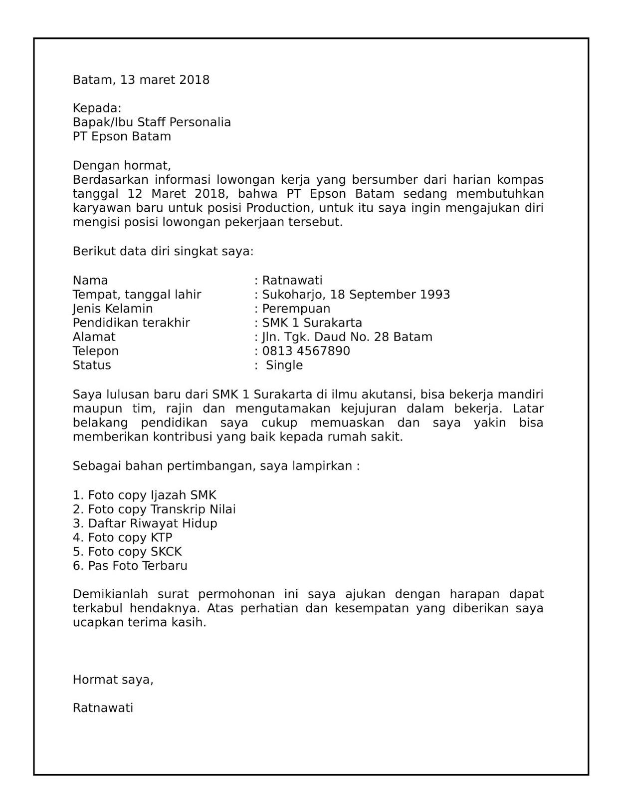 Contoh Surat Lamaran Kerja Untuk Pt Epson