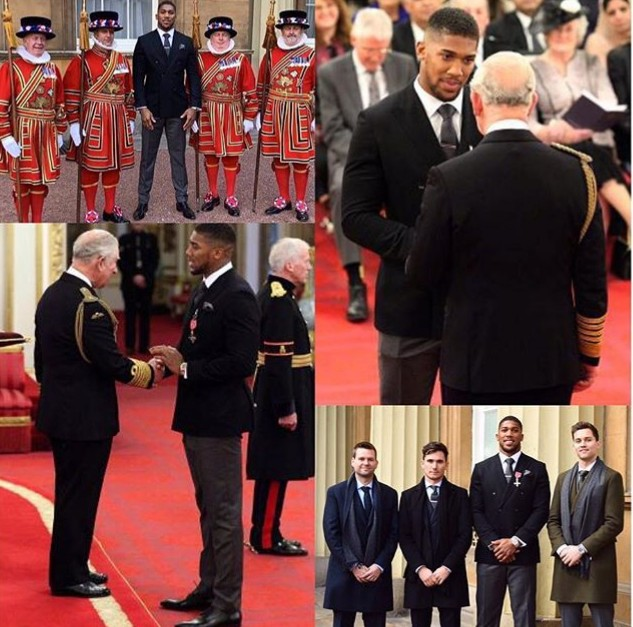 Heavyweight Champ Anthony Joshua Receives OBE Award From Prince Charles