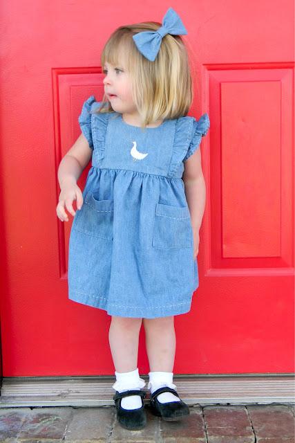 Denim Baby dress, handmad dress, spring dress, duckie embroidery