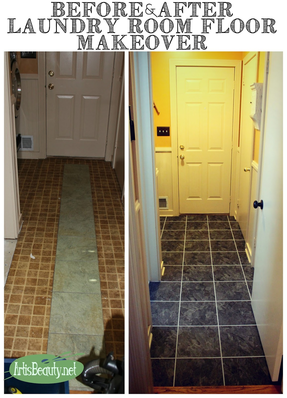 Art Is Beauty Before And After Laundry Room Floor