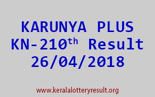 KARUNYA PLUS Lottery KN 210 Result 26-04-2018