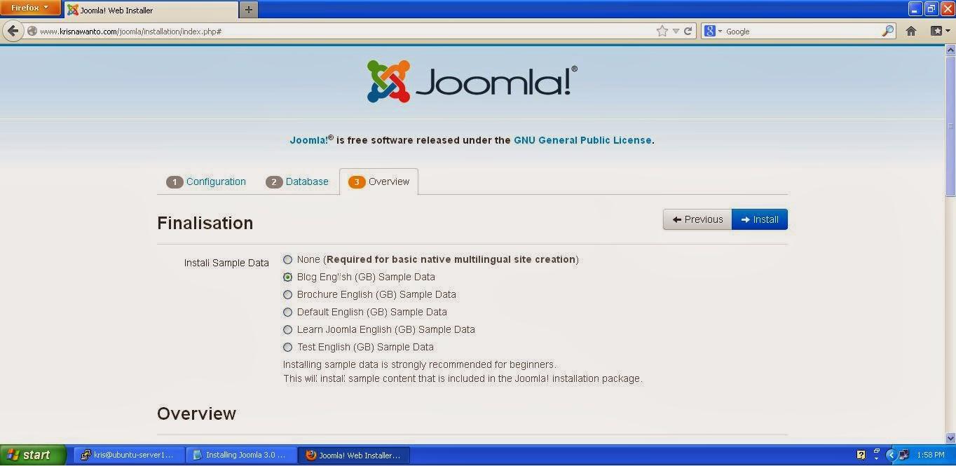 Cara Install Joomla di Ubuntu Server 12.04