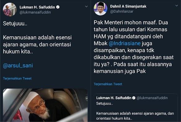 Komnas HAM juga Ajukan Pembebasan Ba'asyir tapi Ditolak, Netizen: Saat itu Pilpres Masih Jauh