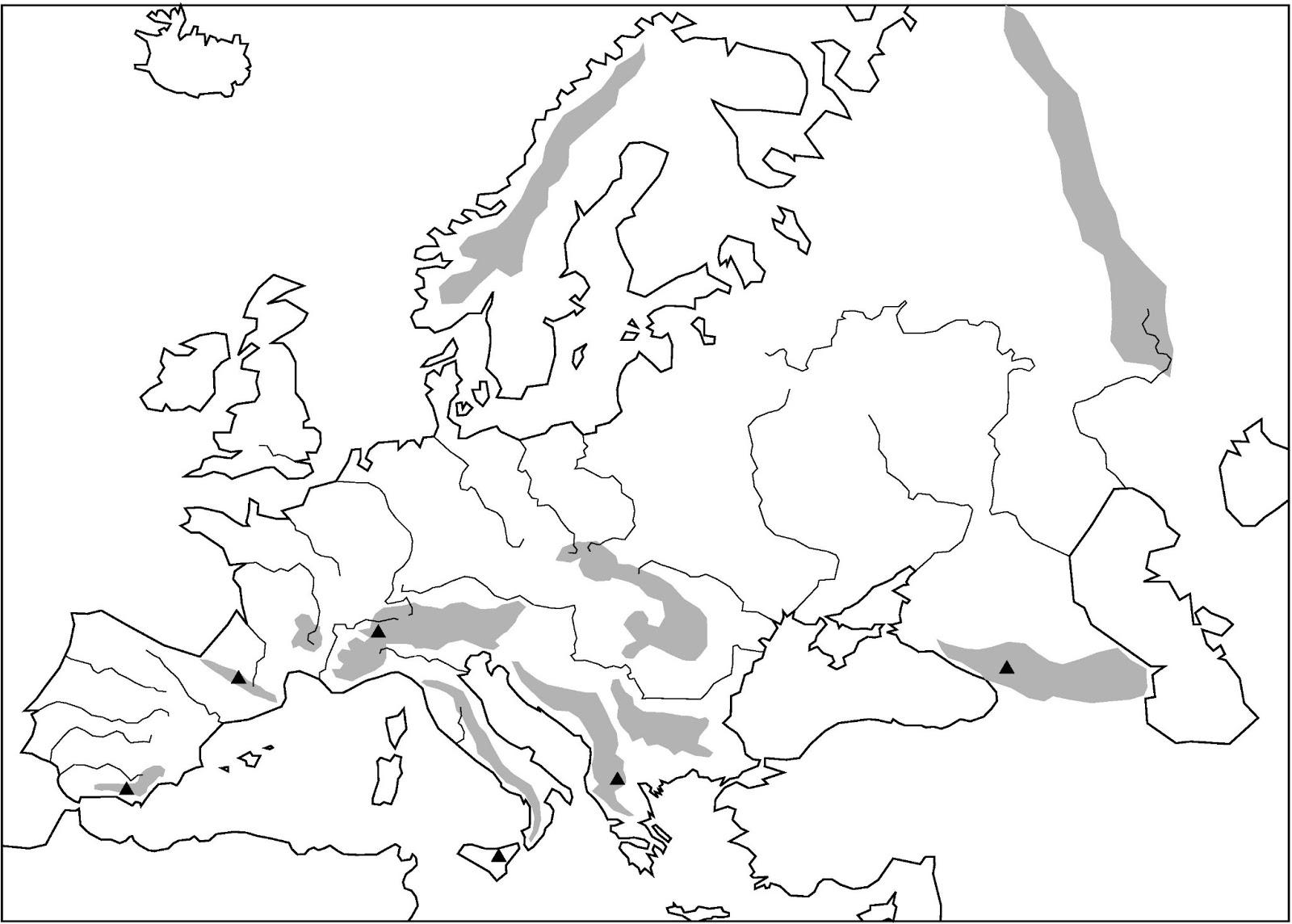 Mapa Fisico Mudo Rios De Europa Para Imprimir.Mapa Mudo Europa Rios