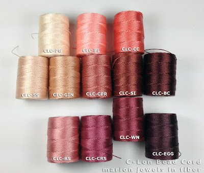 C-Lon Bead Cord Color Copper Rose with other C-Lon Bead Colors
