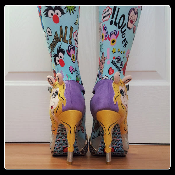 back view wearing Irregular Choice Original Diva Miss Piggy suede heels