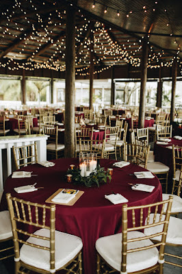 Maroon wedding table decor at Paradise Cove
