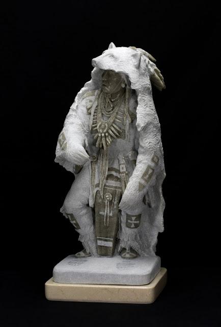 "by Oreland C. Joe Sr, ""Bear Dance Dreamer"" - alabaster | esculturas, obras de arte, american art."