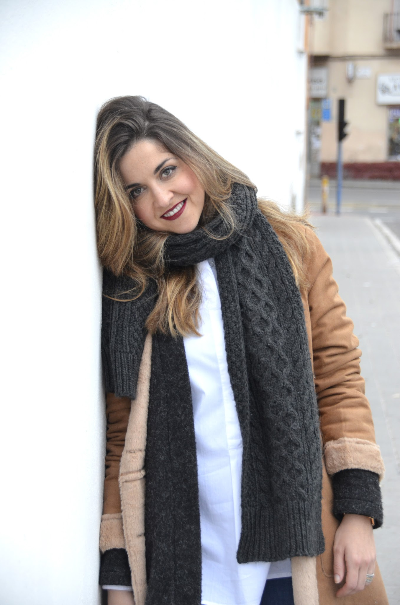 flared jeans and suede coat outfit