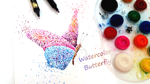 Watercolor Pointillism Butterfly Art
