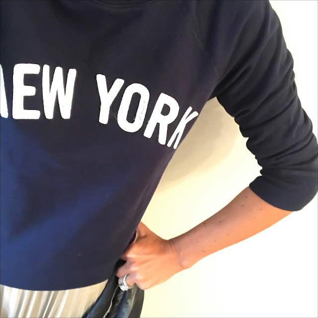 my midlife fashion, j crew new york sweatshirt, debenhams jenny packham metallic pleated maxi skirt, massimo dutti navy leather biker jacket, golden goose superstar low top leather trainers