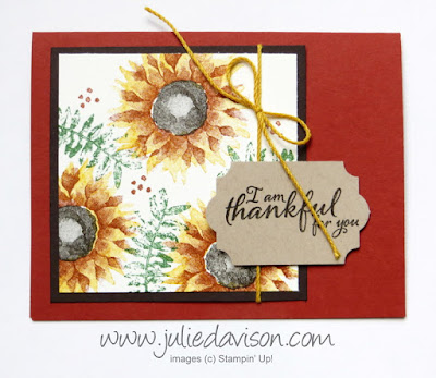 Stampin' Up! Painted Harvest Thankful Card ~ 2017 Holiday Catalog ~ Stamp of the Month Club Card Kit ~ www.juliedavison.com