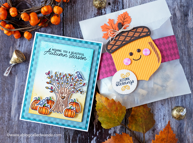 Sunny Studio Stamps: Happy Harvest Beautiful Autumn Nutty For You Dies Autumn Splendor Fall Themed Cards by Wanda Guess