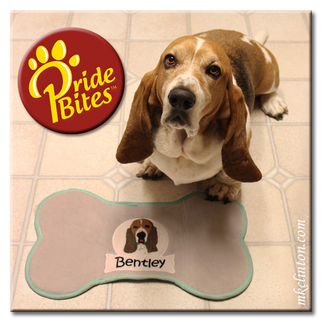 Bentley Basset Hound with his customized PrideBites placemat