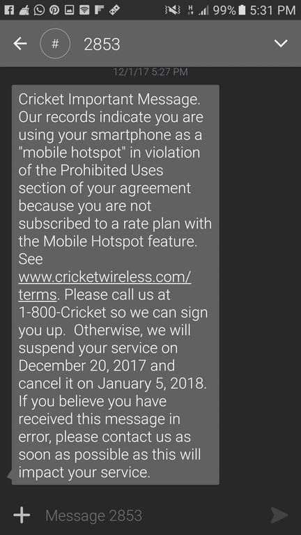 Developing: Cricket May be Starting to Crack Down on Free Hotspot
