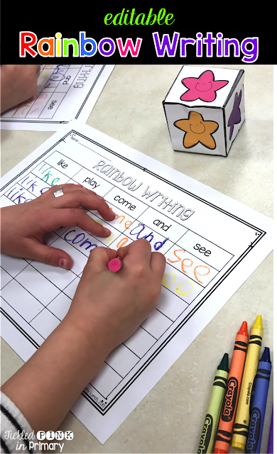 Find 10 ways to help students get repeated practice on sight words, like this Rainbow Writing activity! These games can be played whole group, small group, or in literacy centers.