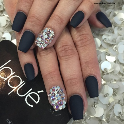 Party black matte nails