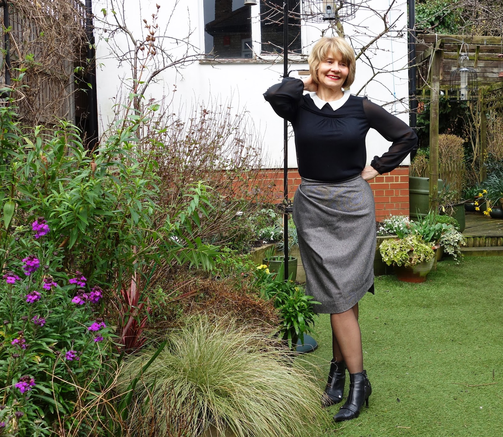 Confidence outfits: grey Vivienne Westwood skirt and black embellished jumper from Boden