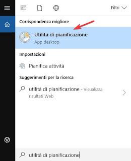 Utilità di pianificazione Windows