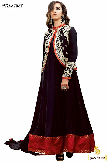 Black color jacket style anarkali suits and dresses online shopping with discount offer sale