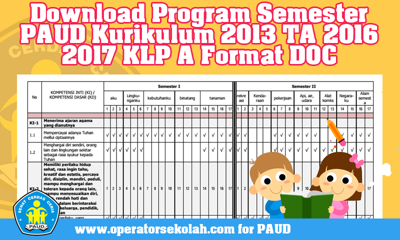 Download Program Semester PAUD Kurikulum 2013 Tahun Ajaran 2016 2017 KLP A Format DOC