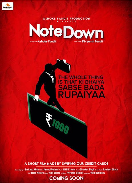 """First Look Poster of Short film on Demonetization """"Note Down"""""""