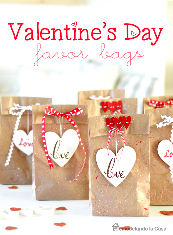 brown paper lunch bags decorated for Valentines day
