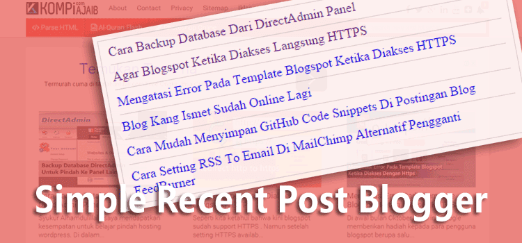Simple Recent Posts Widget Untuk Blogspot