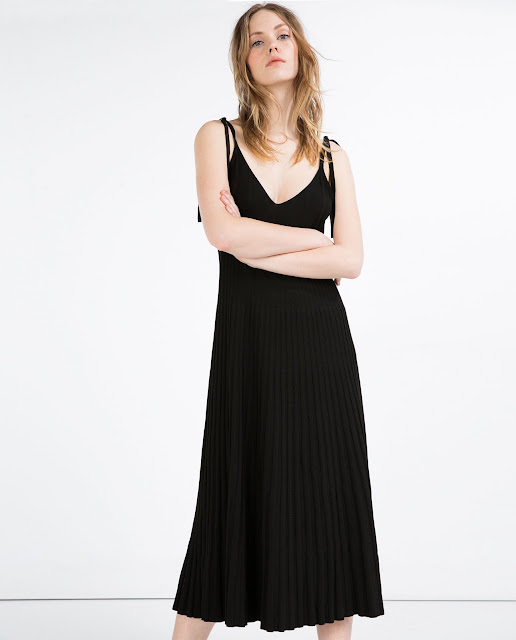 zara black pleat skirt dress.