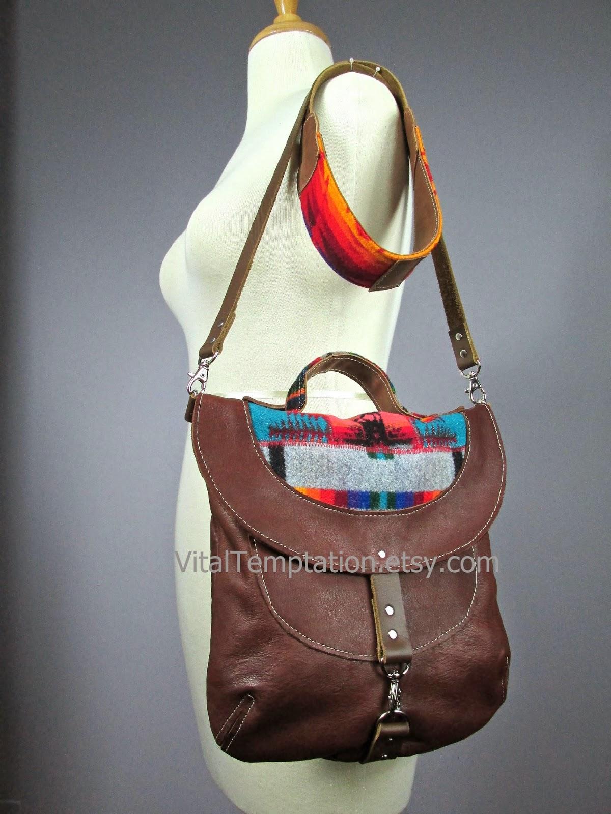 c6c6f50558 Laboratory of Fashion  Leather cross body bag with Pendleton wool ...