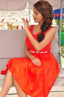 Actress Deeksha Panth Stills in Red Short Dress at Banthi Poola Janaki Press Meet  0089.jpg