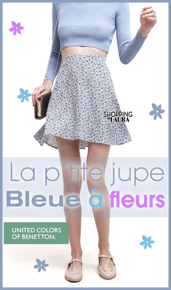 Mini jupe bleue à fleurs BENETTON