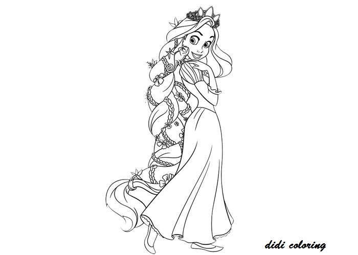 walt disney pricess cartoon character tangled coloring page for kids title=