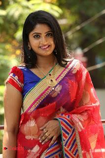 Actress Mounica Pictures in Saree at Tholi Kiranam Press Meet  0075.JPG