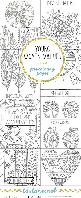 Young Women value coloring pages at Latter Day Lane