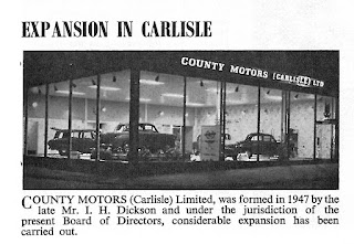 New showroom for County Motors of Carlisle: Extract from STR July 1959