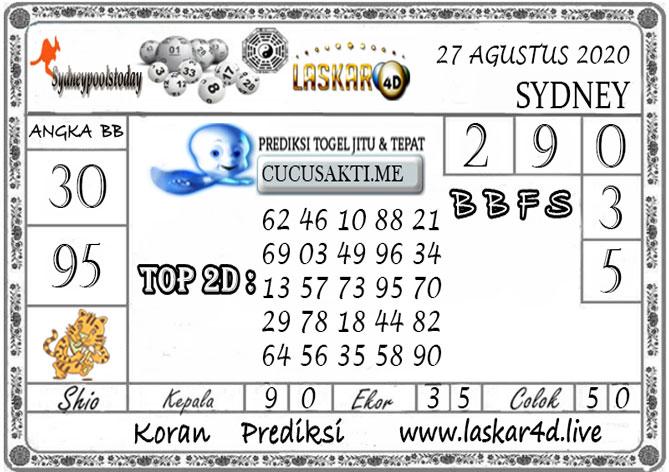 Prediksi Togel SYDNEY LASKAR4D 27 AGUSTUS 2020