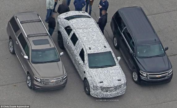 Photo of president Trump's armoured limousine in its final stages as it undergoes testing
