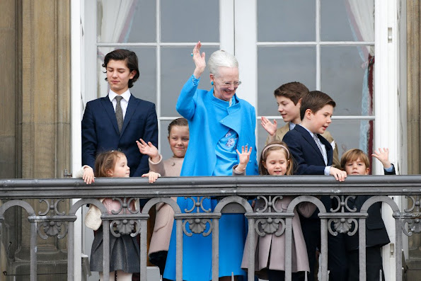 Queen Margrethe II of Denmark and husband Henrik, Prince Consort of Denmark, Prince Nikolai of Denmark, Prince Felix, Princess Athena