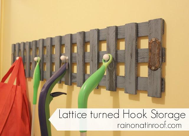 Lattice transformé stockage Hook {} rainonatinroof.com #lattice #organize #storage