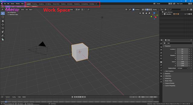 Blender 2.8 Menu and Work Space